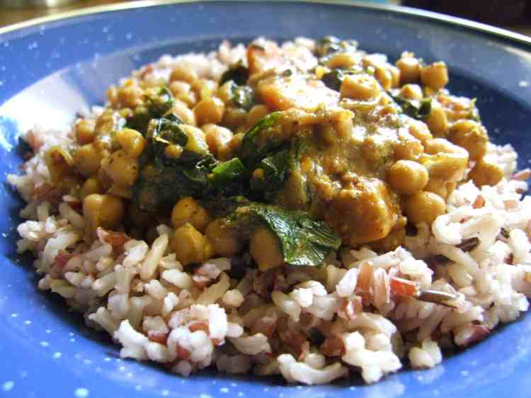 sweet potato, chickpea & spinach curry with rice
