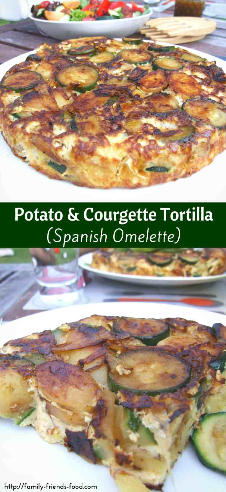Delicious courgettes (zucchini) add extra flavour to this easy & delicious potato tortilla (Spanish omelette). A wonderful light lunch or simple supper.