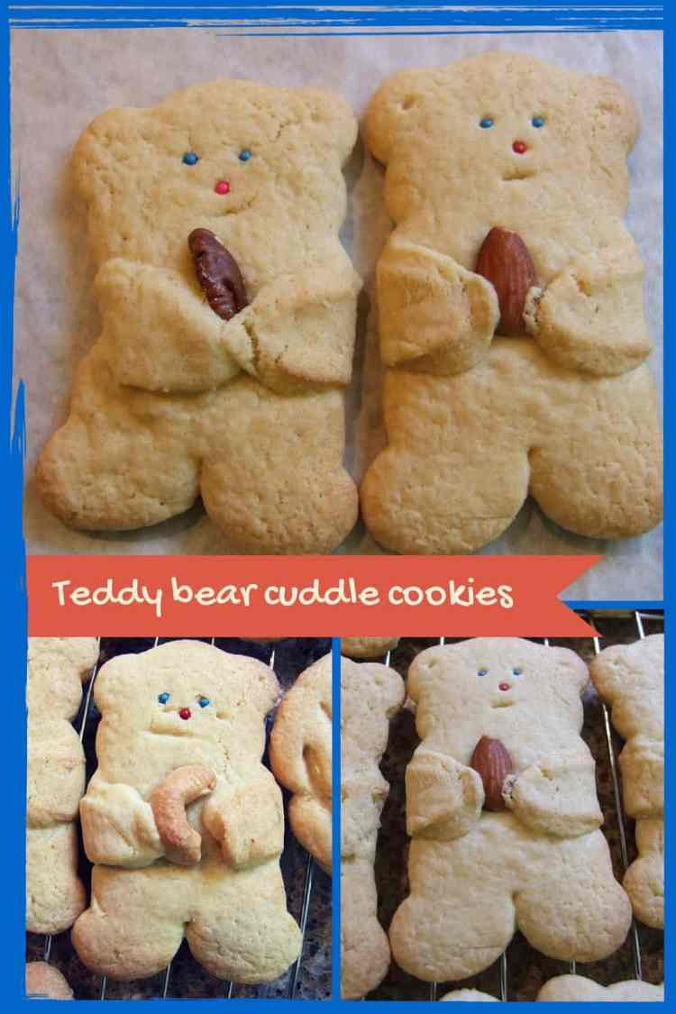 Say 'I love you' with a cuddle! Light, crisp & delicious vanilla cookies - each of these adorable teddy bears cuddles a tasty nut. What a treat!