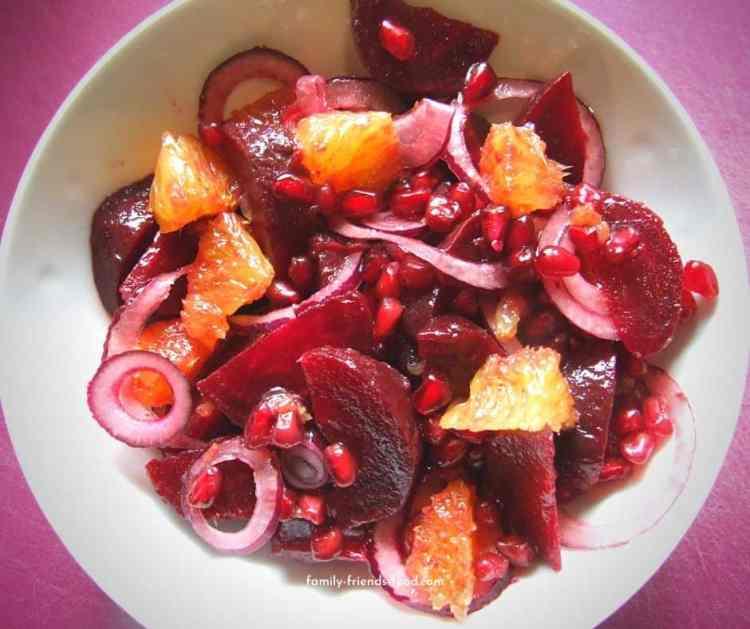 beetroot orange & pomegranate salad.