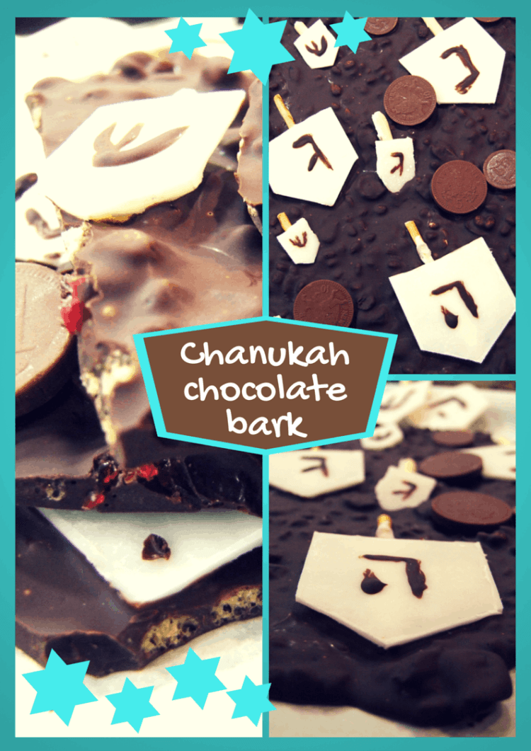 Delicious dark chocolate bark with crispy rice & dried cranberries, decorated with chocolate coins & dreidels - a fab festive treat & an easy homemade gift!