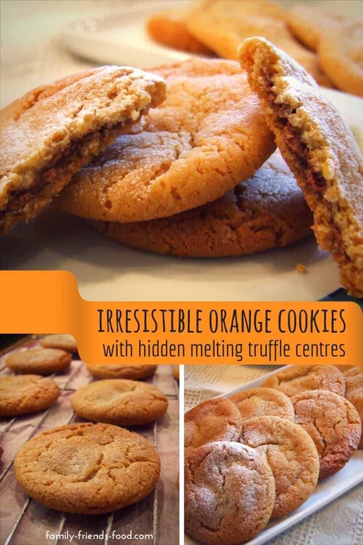 Crisp, buttery orange cookies with a gooey melting truffle filling hiding inside. Easy to make, and so delicious! Everyone will want another cookie...