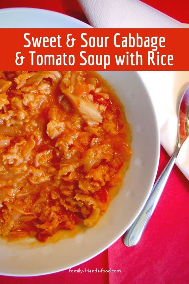 Filled with nostalgic flavours, this delicious vegan sweet and sour cabbage & tomato soup with rice is substantial enough to be a meal in itself. A wonderfully comforting recipe.