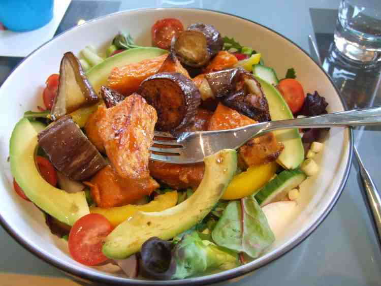 sticky baked sweet potatoes & aubergines with leafy vegetable salad