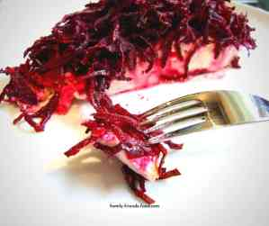 salmon with beetroot & horseradish topping.