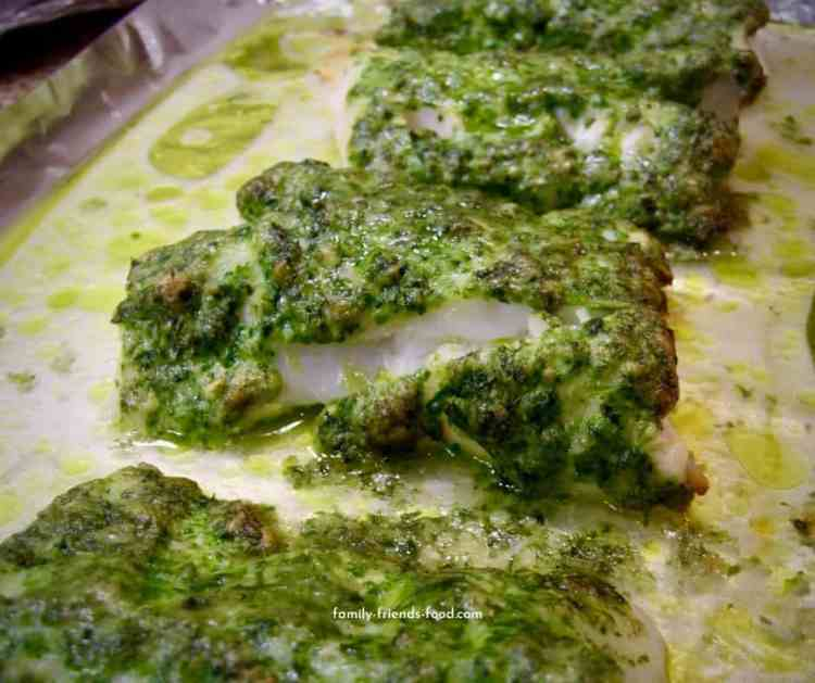 cod fillet with a garlic herb parmesan crust.