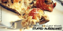 pesto & bulgar wheat stuffed aubergines