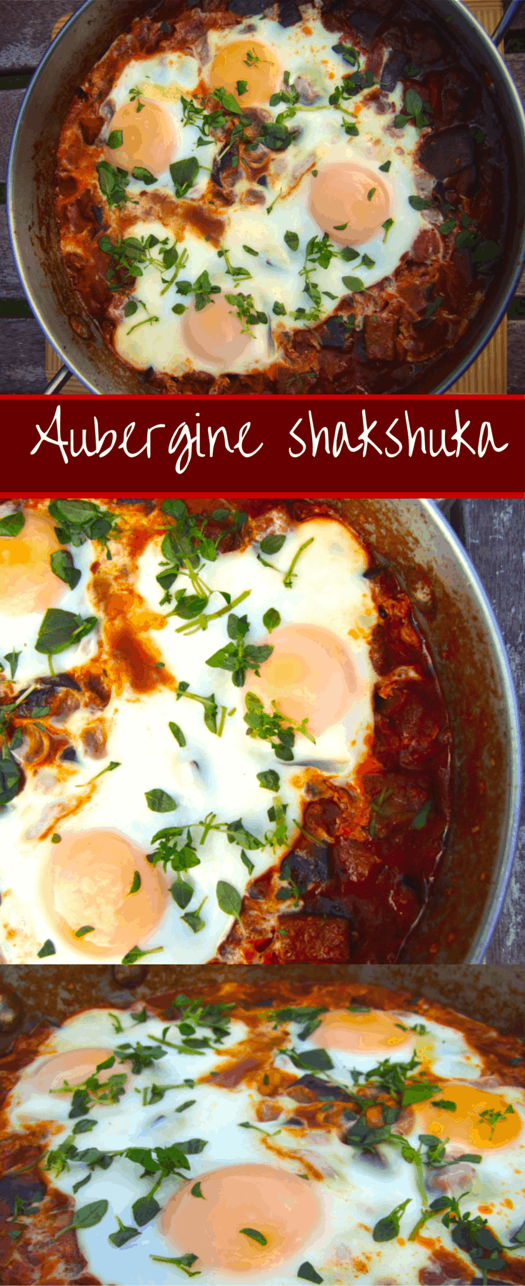 A spicy, garlicky, saucy shakshuka with aubergine (eggplant) that makes a great breakfast, brunch or dinner! Serve with pita bread to soak up the sauce.