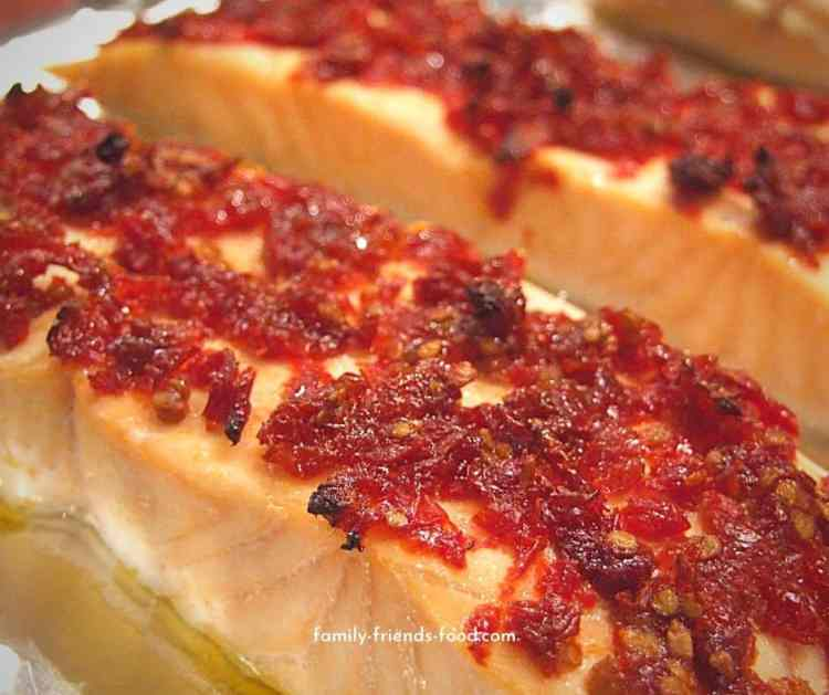 salmon with sun-dried tomatoes.