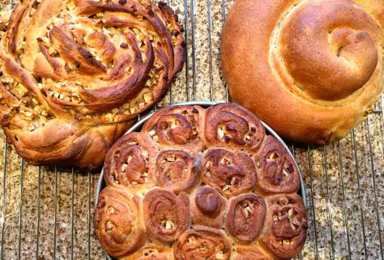 spiced apple challah 3 ways