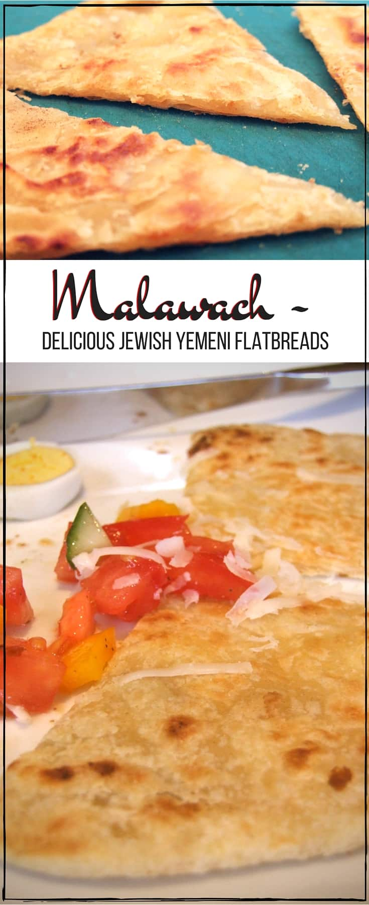 Malawach is an easy-to-make, delicious, 3-ingredient flaky fried flatbread. Serve with fresh tomatoes, cheese & eggs for a fabulous breakfast or brunch. #jewishfood #vegan #brunch #flatbread