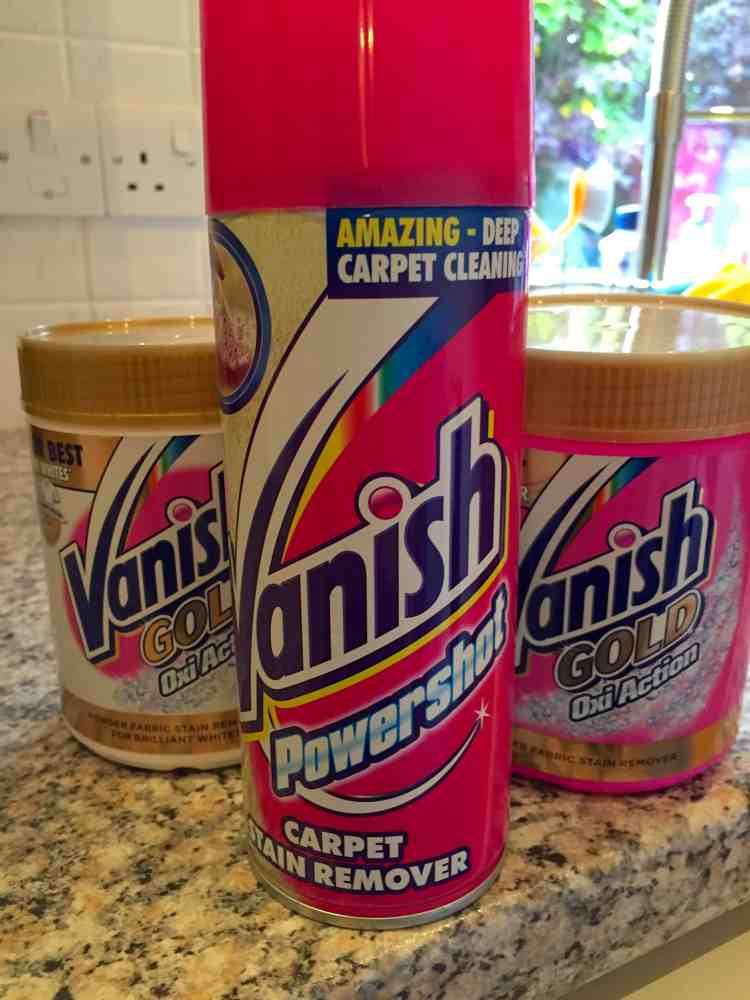 Enter the giveaway to win Vanish Powershot Carpet Stain Remover, Vanish Gold Oxi-Action powder and Vanish Gold Oxi-Action for whites. You'll be spotless!
