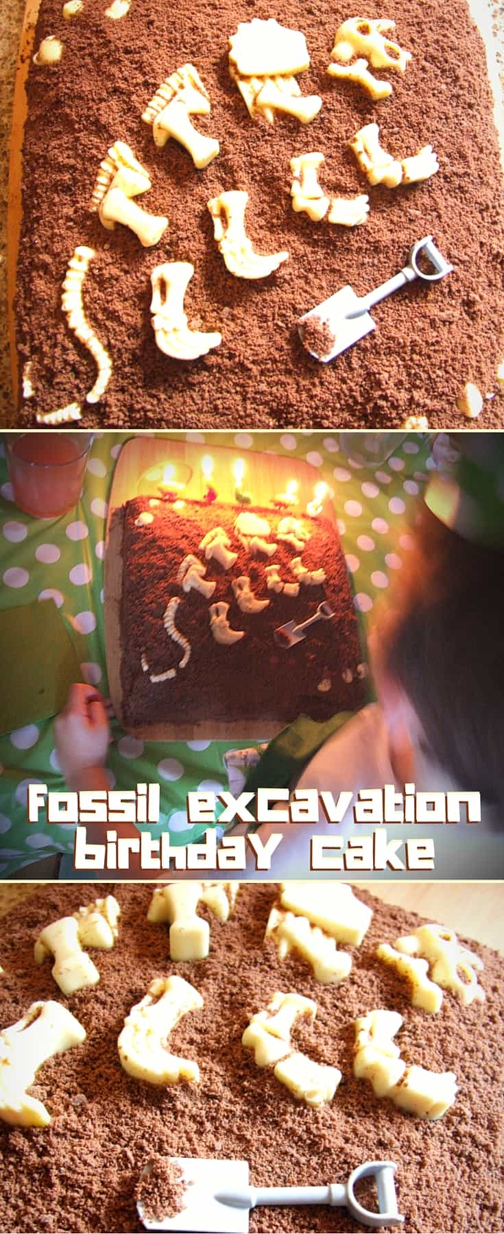Dinosaur fossil excavation birthday cake - chocolate sponge cake, decorated with chocolate 'dirt' and white chocolate 'fossils'. Perfect for your budding palaeontologist!
