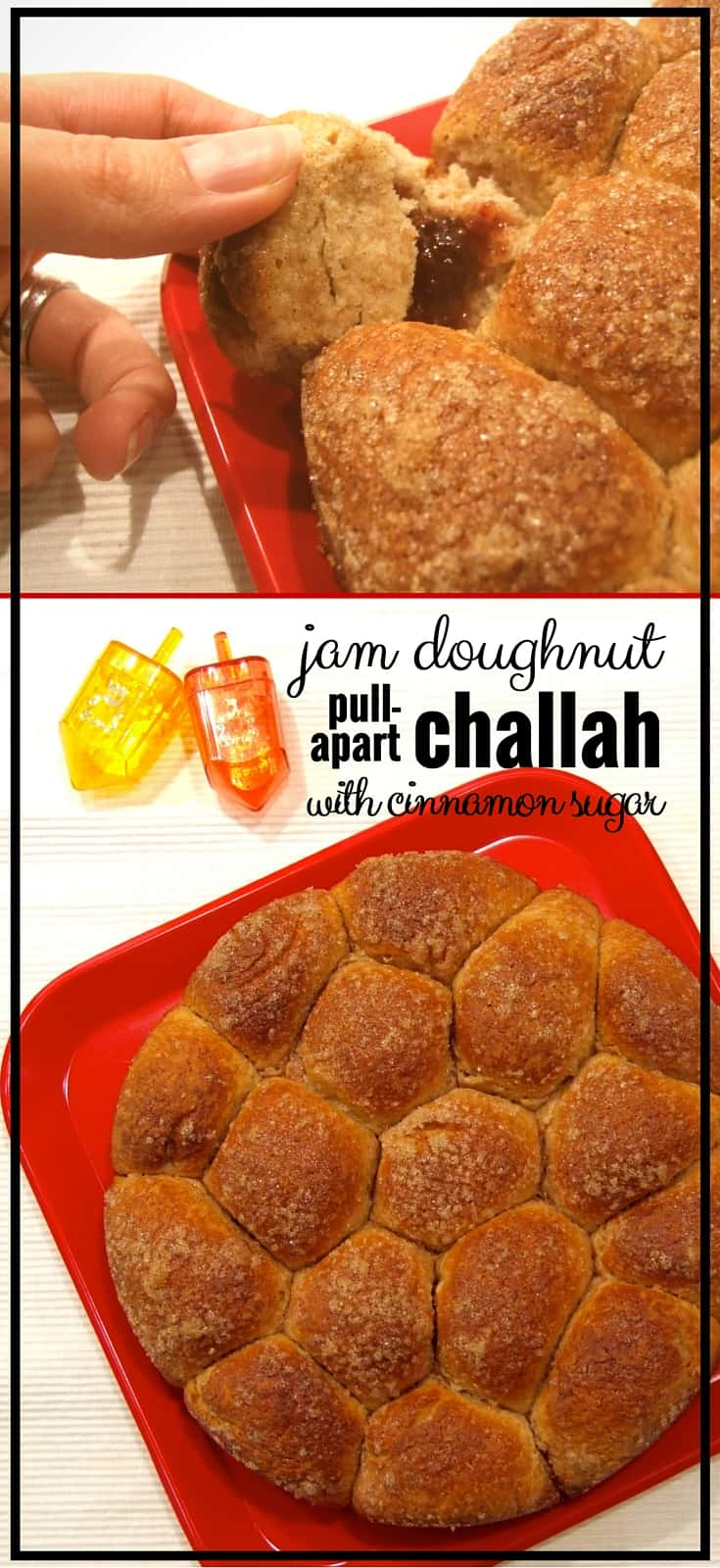 Pull apart the soft, fluffy, cinnamon scented balls of sweet challah, & bite into a centre of deliciously fruity strawberry jam. A Chanukah Shabbat treat!