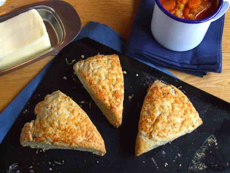 Warm cheese and herb scones are perfect spread with butter and served with hot soup. Yum!