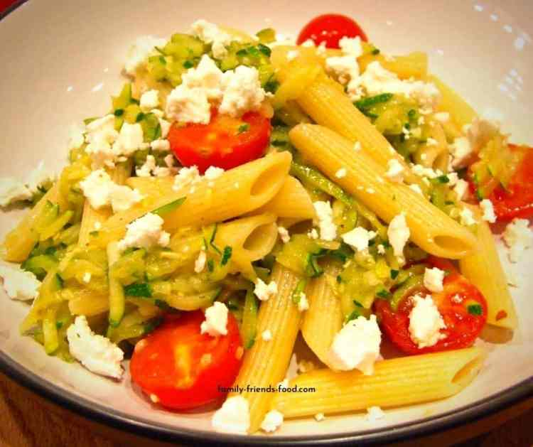 Cherry tomato and courgette pasta.