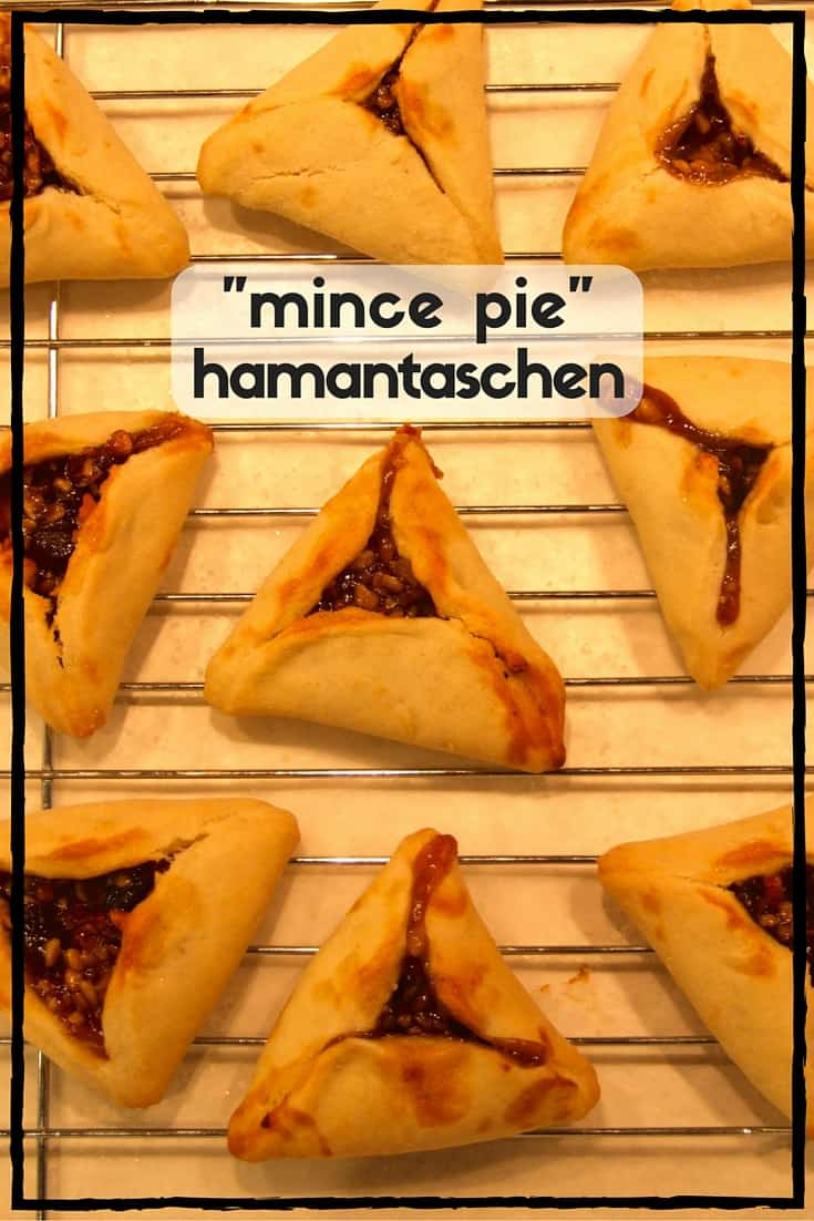 Rich pastry surrounds a sweet & spicy dried fruit filling in these delicious, easy-to-make mince pie hamantaschen. Purim Sameach to one and all! (parve)