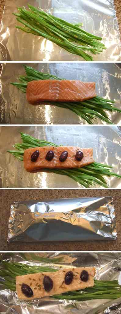 A delicious salmon dinner! Salmon fillets are baked in individual foil parcels with black olives & sliced runner beans for a flavour-packed, healthy meal. Quick, tasty & nutritious!