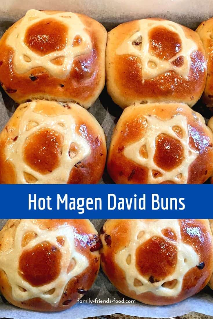 Rich, fruity, spicy & delicious, each of these buns sports a magnificent Magen David on its golden, shiny top. Enjoy them warm, cold or toasted. (Parve)