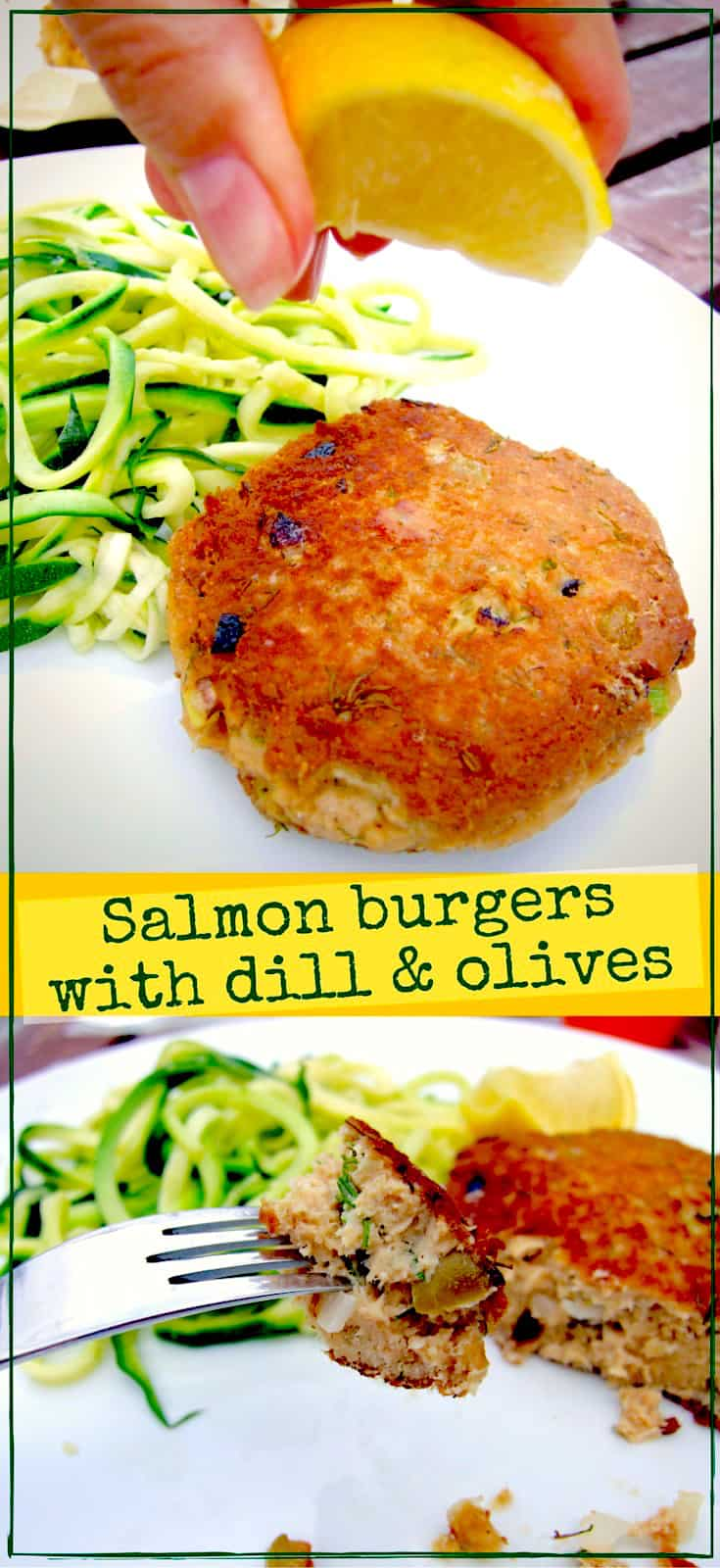 Easy to make salmon fishcakes (burgers) flavoured with fresh dill, spring onions & olives. A delicious & economical family supper that's packed with protein.