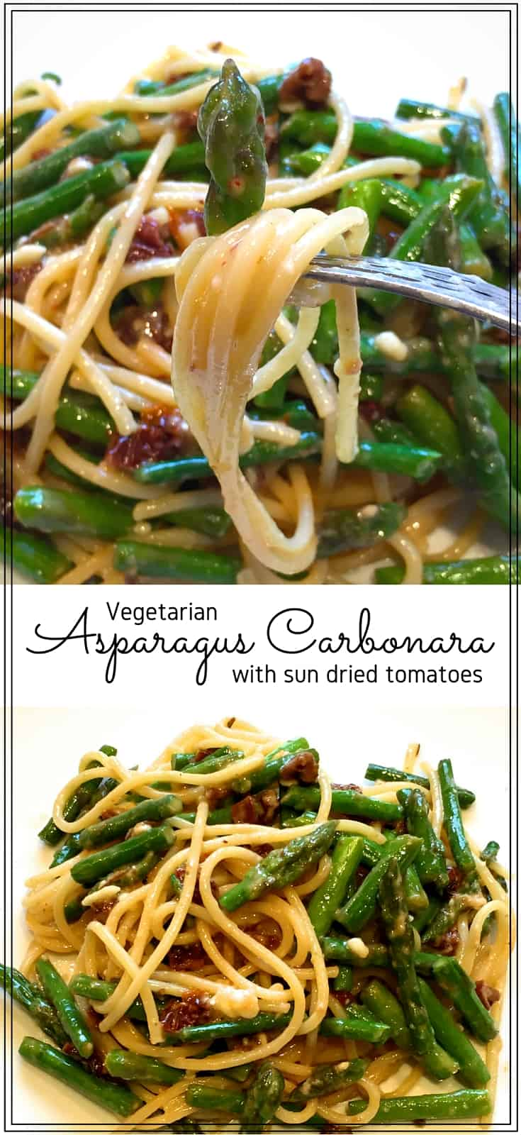 Asparagus carbonara - Rich & tasty, this quick & easy pasta dinner is a delicious way to use fresh, seasonal asparagus. Savoury sun dried tomatoes make this a vegetarian treat.