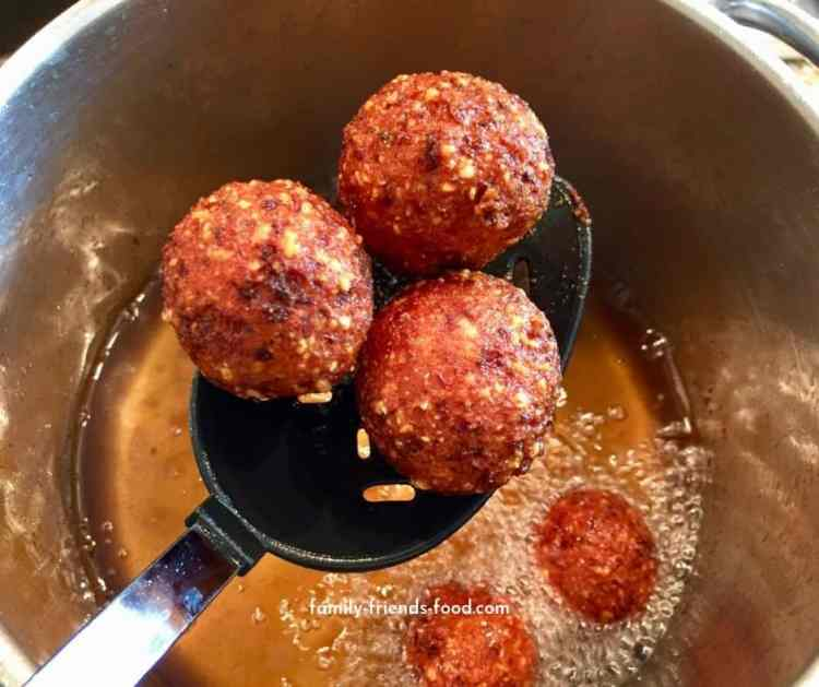fried gefilte fish balls.