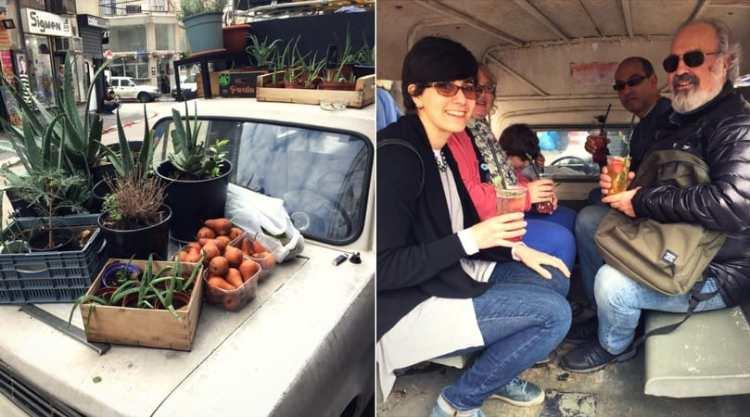 Drinking gazoz in Benny's van at Tel Aviv's Levinsky Market
