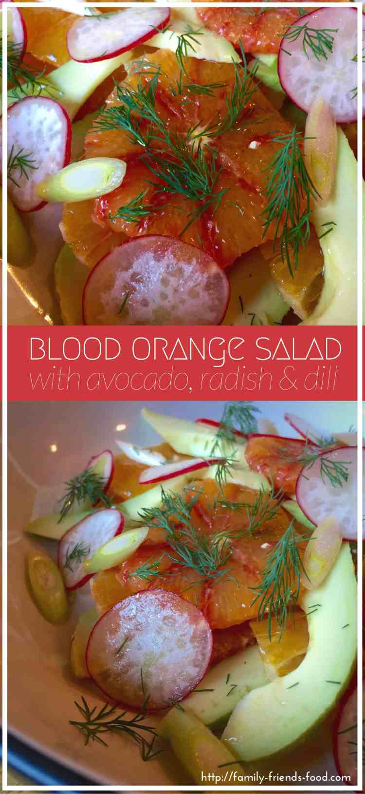 Creamy avocado, sweetly tangy blood orange, & crisp peppery radish, topped off with tangy spring onions, fresh dill, & a drizzle of olive oil. Delicious!