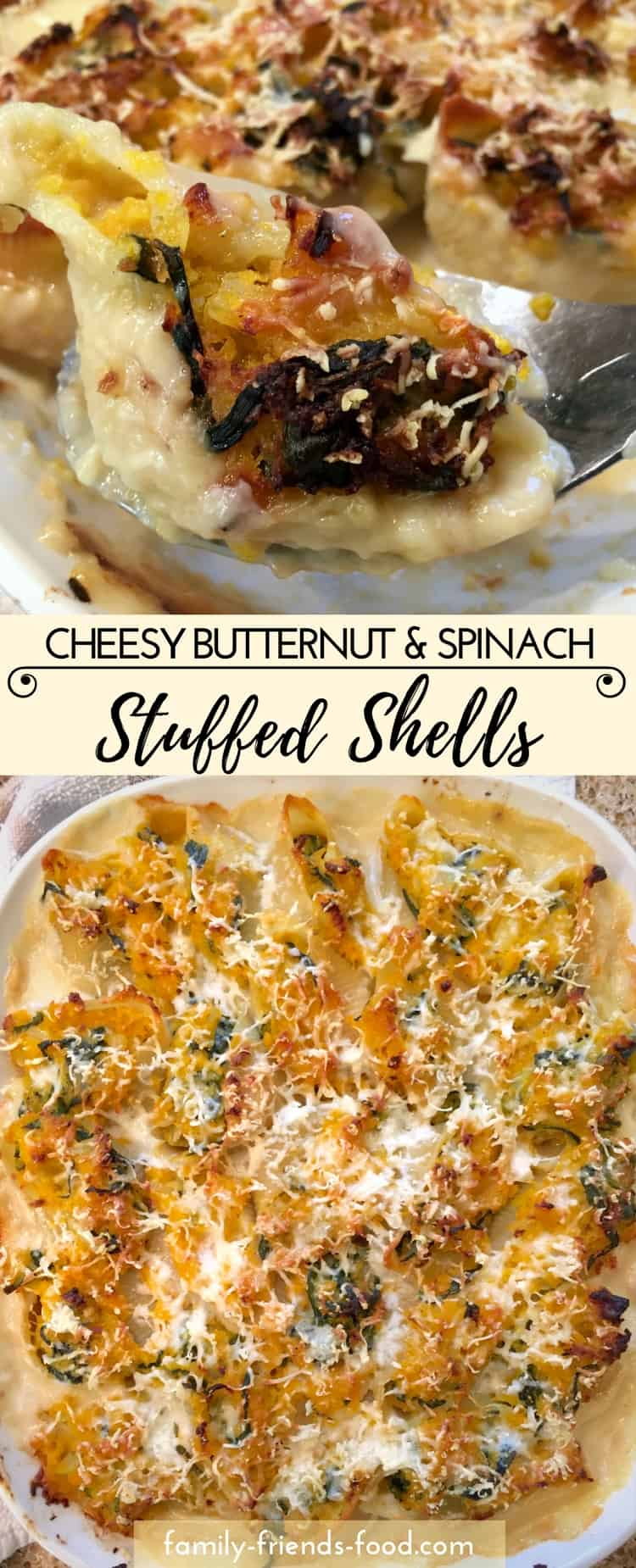 These gorgeous stuffed shells are conchiglioni filled with a delicious vegetarian squash & spinach mixture, nestled in a cheesy sauce & topped with more cheese before baking to crispy perfection.