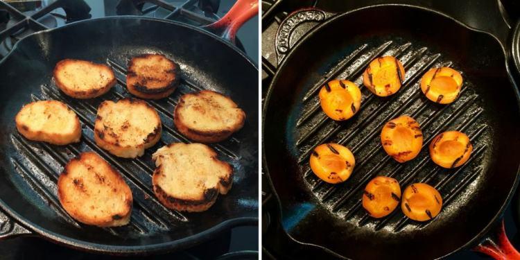 griddling crostini & apricots