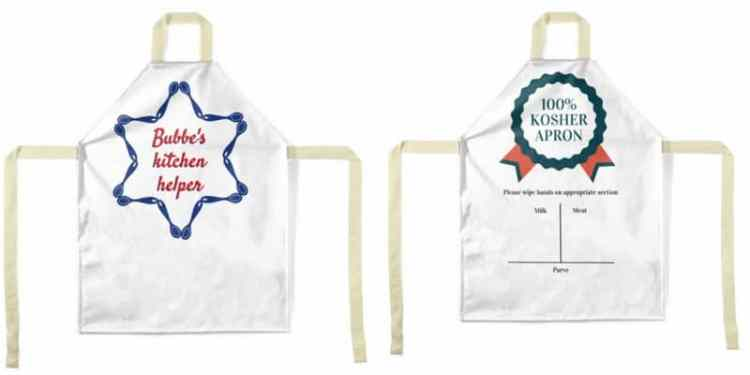 Funny, cute, Jewish-inspired children's apron is '100% kosher'! Encourage your little chef into the kitchen with one of these adorable designs.