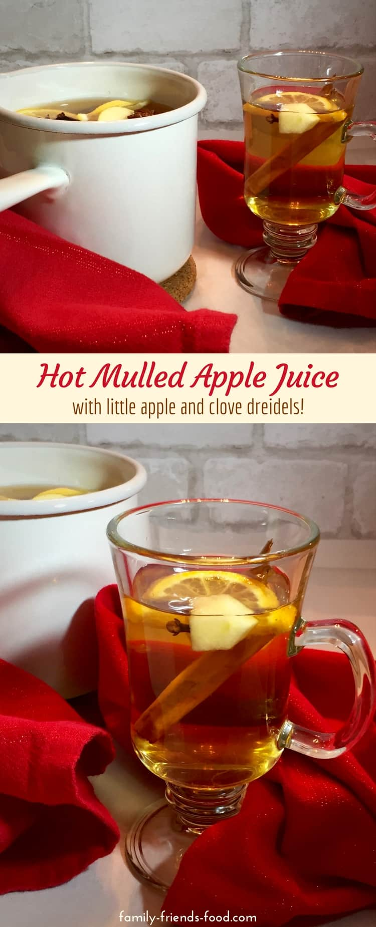 Hot Mulled Apple Juice. Like a hug in a mug, this fruity & fragrant mulled apple juice has all the flavours of the season. Cosy, warm and delicious, it's perfect for Chanukah!