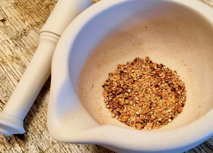 spices in mortar & pestle