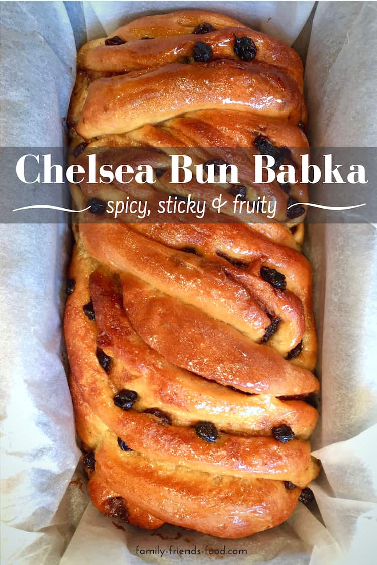 Chelsea Bun Babka - A delicious fusion of traditional British Chelsea buns & sticky swirly babka! This lightly spiced, fruited loaf is glazed in syrup, & terrific at any time.