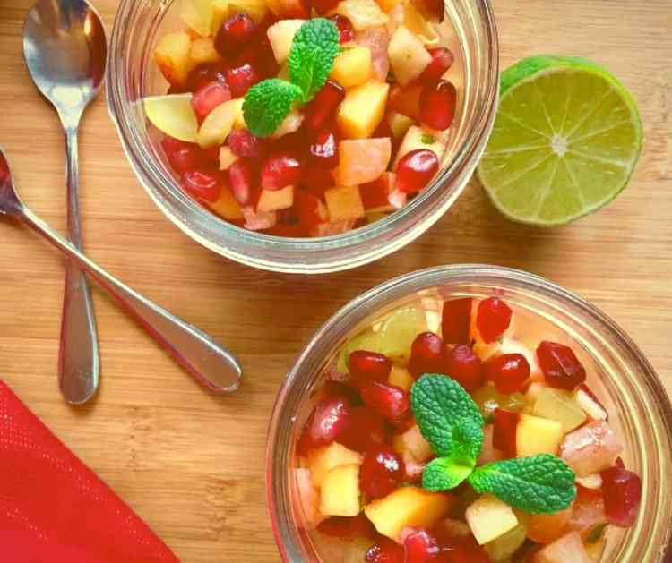 Finely diced ripe fruits are combined with a spicy, zesty dressing to create a glorious fruit salad that's a dazzling fruity celebration in every mouthful!
