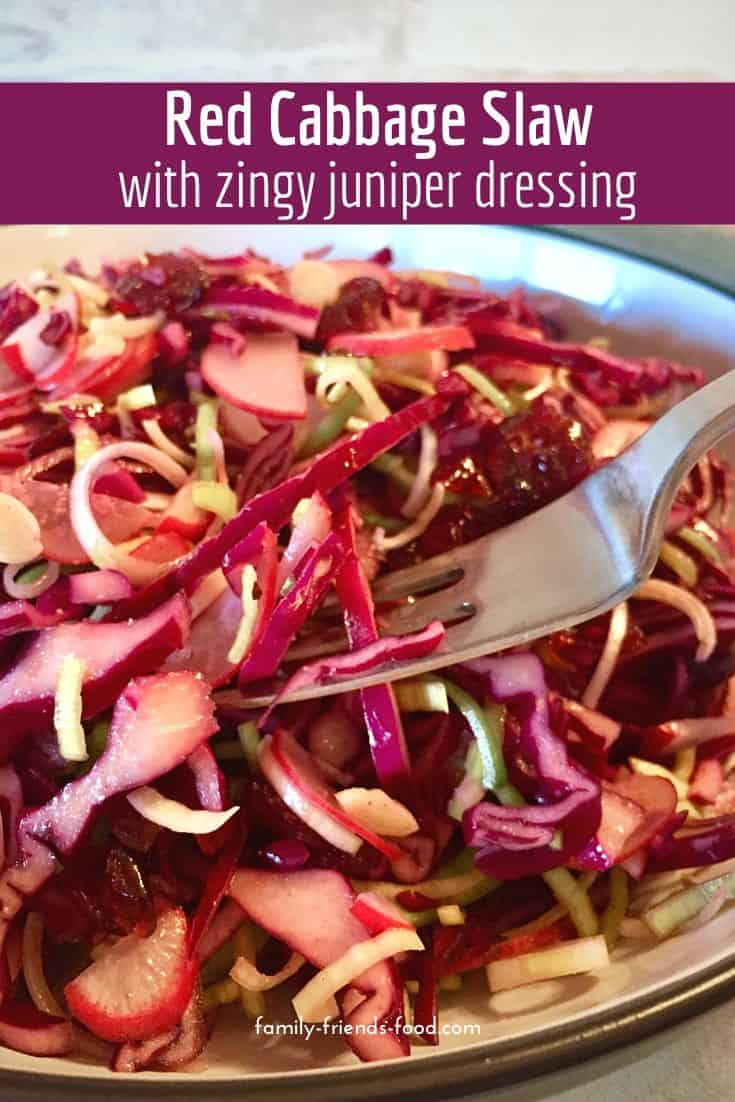 Red cabbage slaw with juniper dressing. Crunchy red cabbage and delicious wintry spices combine in this gorgeously vibrant raw vegan salad that will brighten any plate.