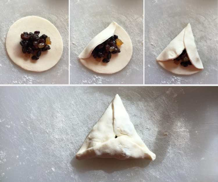 How to fold Eccles cake hamantaschen