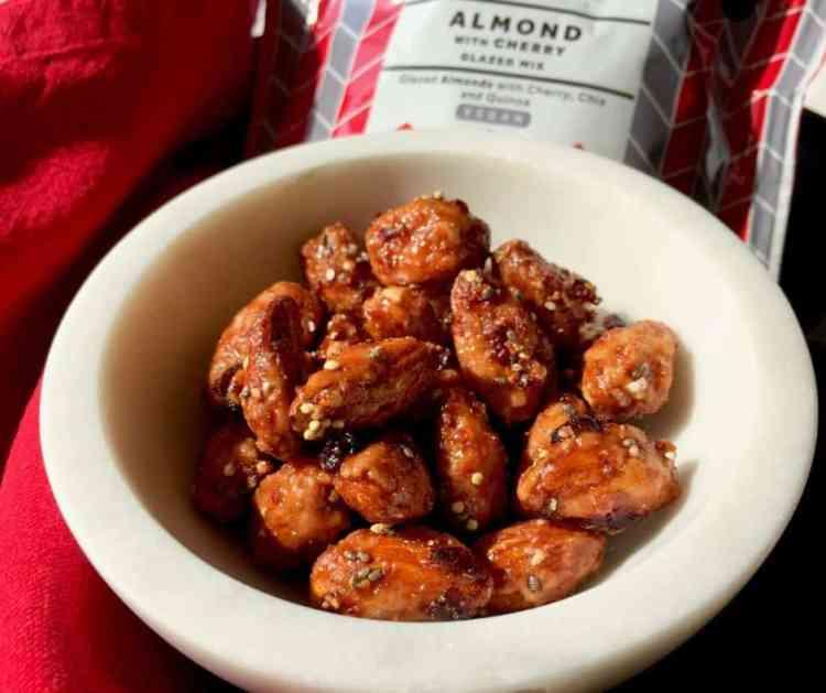 Dolce la Dolce glazed almonds in a bowl.