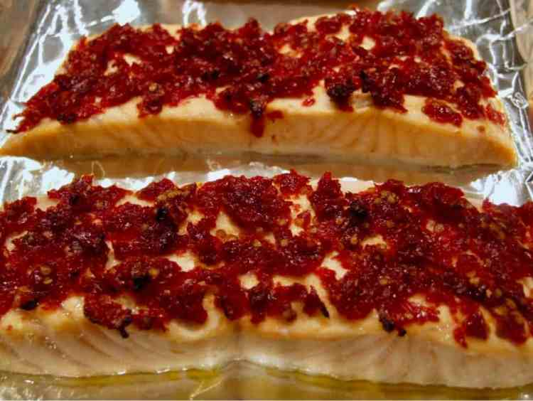 salmon with sundried tomatoes.