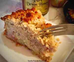 Devon apple cake with honey crumb topping.