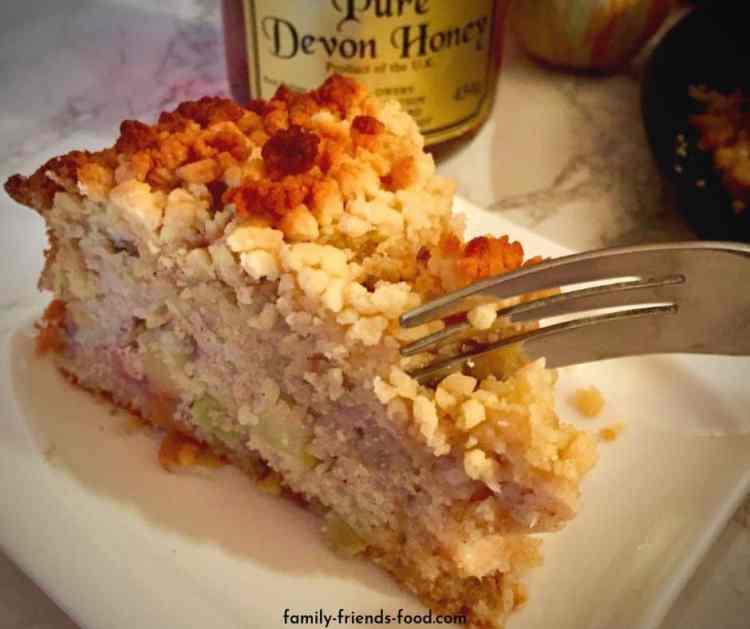 Devon apple cake with honey crumb topping.