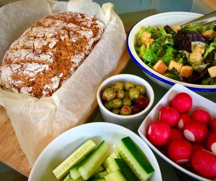 Vegetable soda bread from Get Your Kids to Eat Anything with a selection of salads.