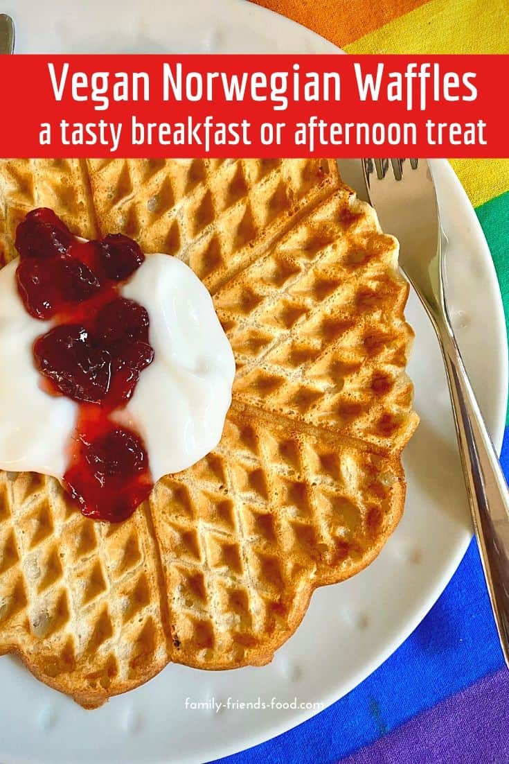 Delicious Norwegian waffles flavoured with cardamom & vanilla, and free from eggs & dairy. These vegan waffles are a delicious breakfast or afternoon treat.