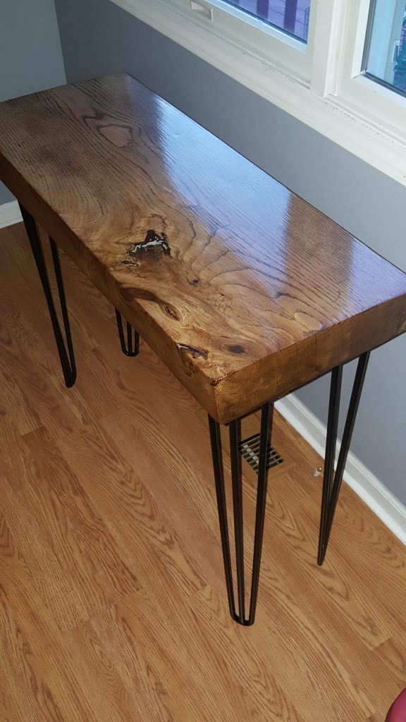 Cherry Slab Table with Inlay and Hairpin Legs