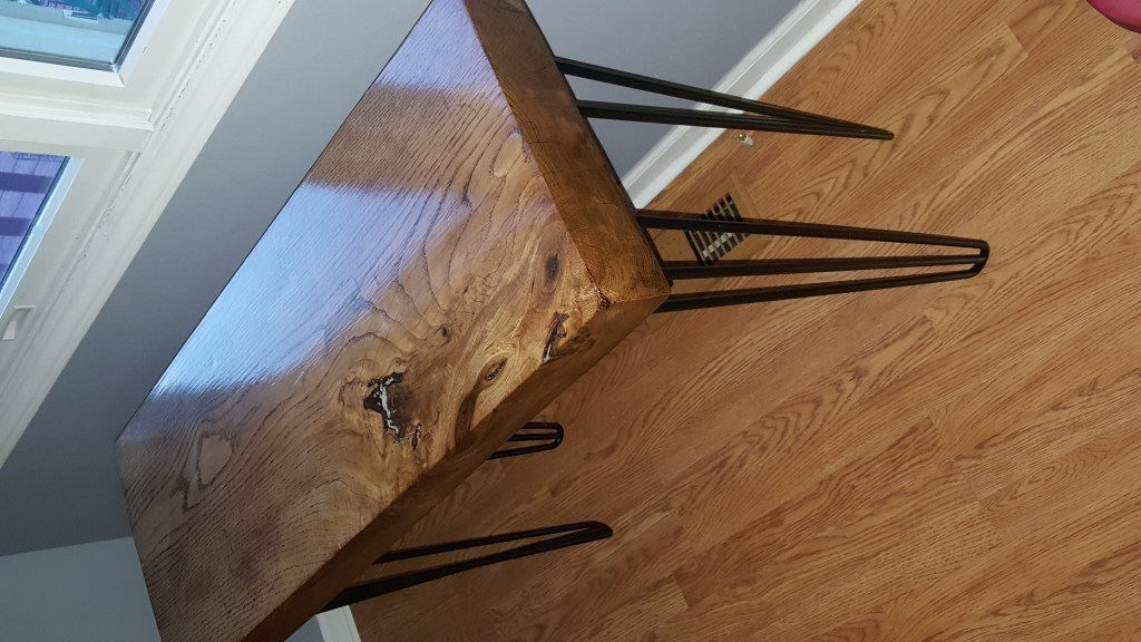 cherry slab table with hairpin legs finished