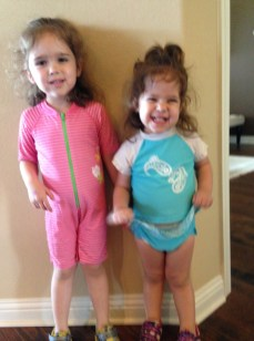 Olivia and Catalina getting ready to go swimming