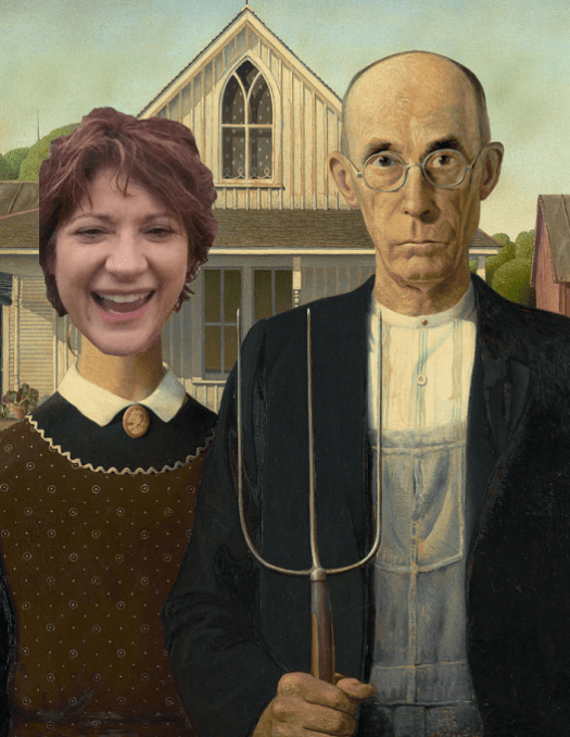 Parody of American Gothic from Anamosa, IA