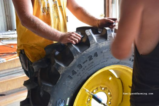 Changing a combine tire