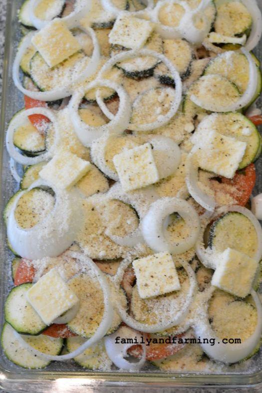 Zucchini casserole before baking