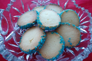 Holiday coins are a festive cookie with a buttery taste.